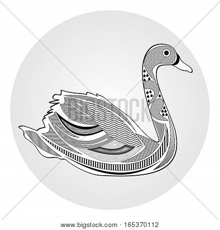 Swan black and white drawing with hatched and patterned body parts tattoo template of silhouette water bird