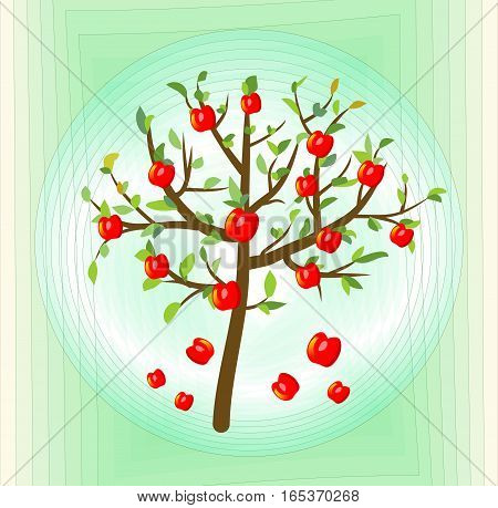 Tree with red apple summer theme on abstract green background symbol of crop