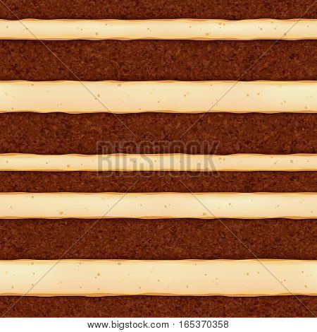 Chocolate sponge cake with vanilla cream filling background. Colorful seamless texture. Vector illustration. Good for bakery menu design - poster banner flyer packaging.