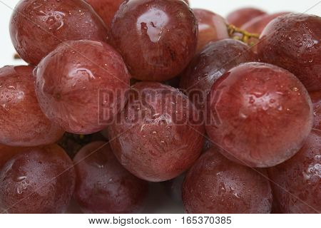 Red grape berries with watter drops onto
