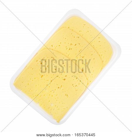 Slices of Swiss cheese with holes isolated on white background