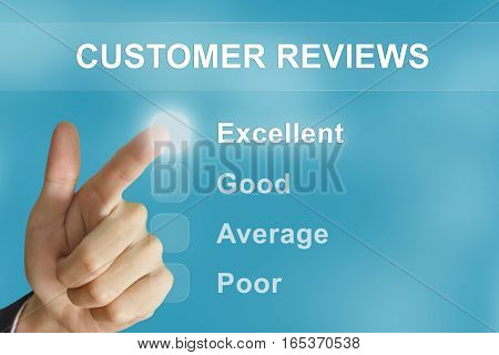 business hand clicking customer reviews button on screen