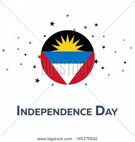 Independence Day Of Antigua And Barbuda. Patriotic Banner. Vector Illustration.