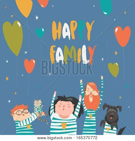 Happy family gesturing with cheerful smile. Vector illustration