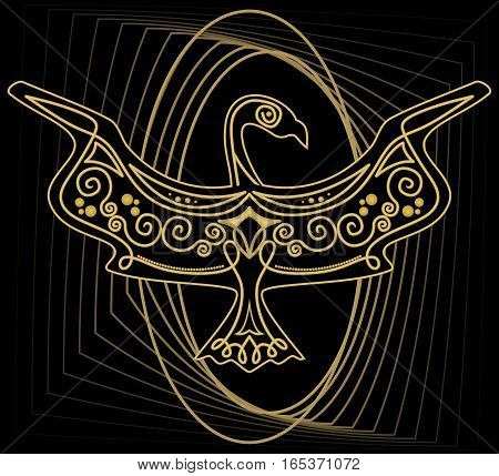 Mythologic ornamental bird silhouette tribal symmetric drawing on black background with gold curves