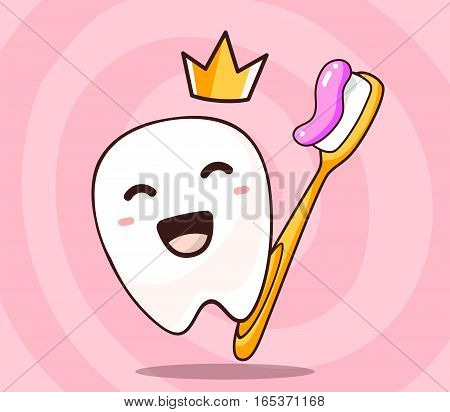 Vector illustration of smile white tooth with yellow crown and toothbrush with paste on pink background. Creative cartoon tooth dentistry concept. Doodle style. Thin line art flat design of character tooth