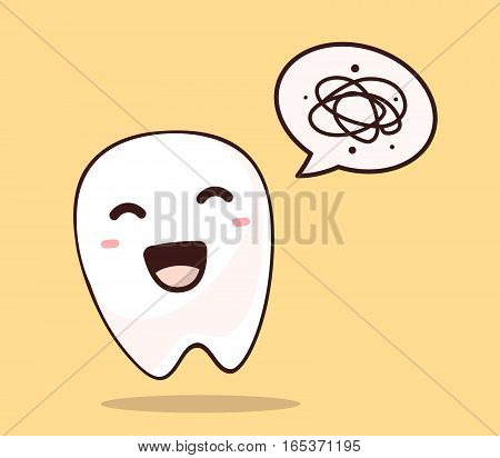 Vector Illustration Of Smile White Tooth With Bubble Speech On Yellow Background. Creative Cartoon T