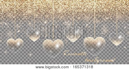 Banner with a romantic design in gold style on a transparent background