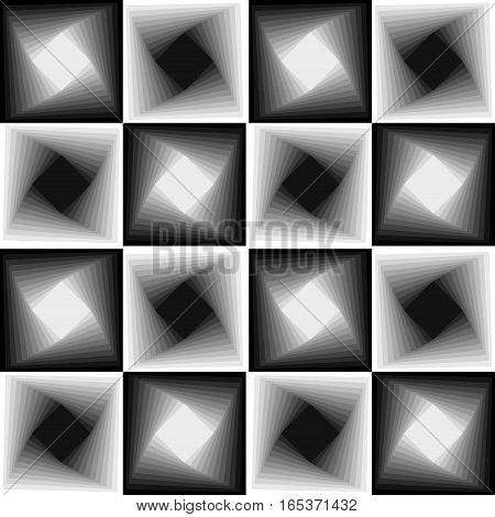 Abstract seamless black and white chessboard patterns vector background with blending effect