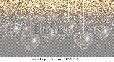 Golden light effects with hearts on a transparent background for design valentines