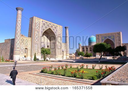 SAMARKAND, UZBEKISTAN: The Registan with beautiful architecture