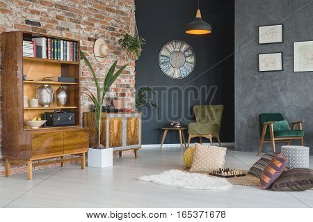 Cozy living room with stylish furniture in vintage style