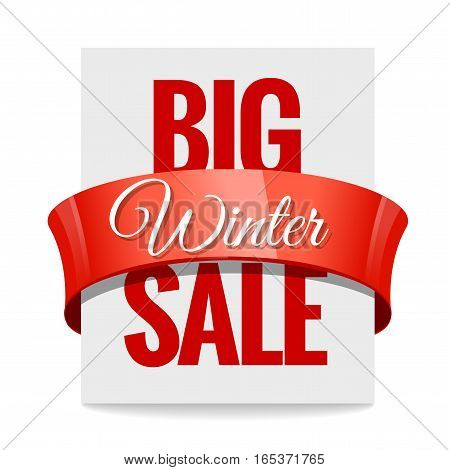 Big winter sale. Label price tag with a red ribbon on white background. Vector illustration.