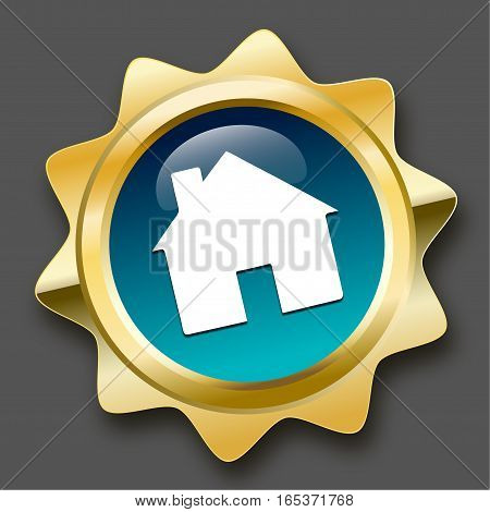 Real estate seal or icon with house symbol. Glossy golden seal or button with turquoise color.