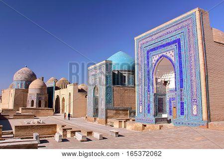 SAMARKAND, UZBEKISTAN: The Shah-i-Zinda with beautiful architecture