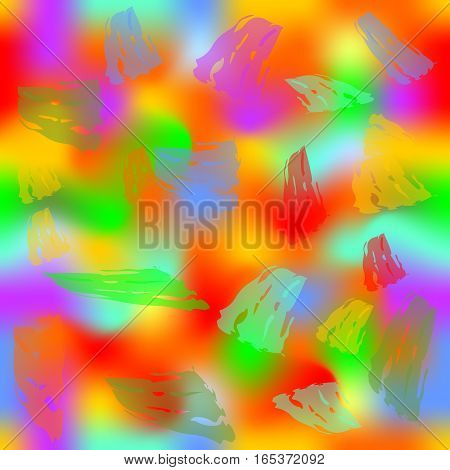 Grunge seamless modern abstract background with blurry splashes and semitransparent brush strokes in psychedelic vivid colors wild color combination