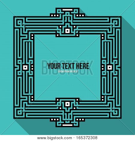 Geometric Text Frame With Traditional Tribal And Aztec Elements. Useful For Invitations, Posters, Cd