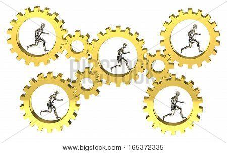 3D gear model group cooperative mechanic teamwork mechanical motion