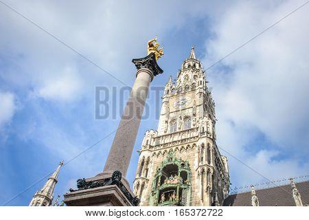 Munich, Germany - October 24, 2014: Central Marienplatz square, Germany, Europe