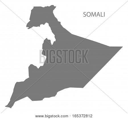 Somali Ethiopia Map in grey region silhouette illustration