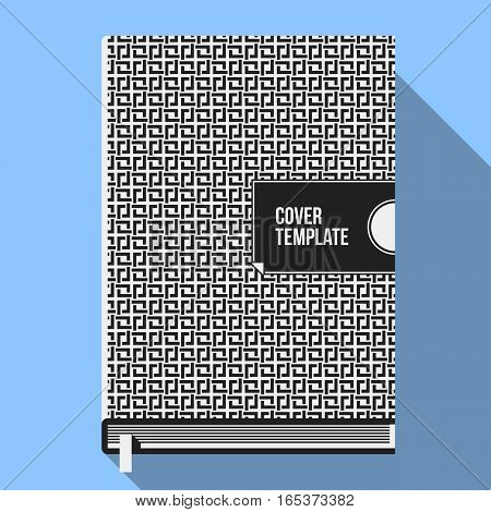 Book Cover Design Template With Monochrome Geometric Pattern. Useful For Books, Notebooks, Annual Re