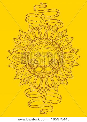 Sun with face color vector illustration. Lace pattern