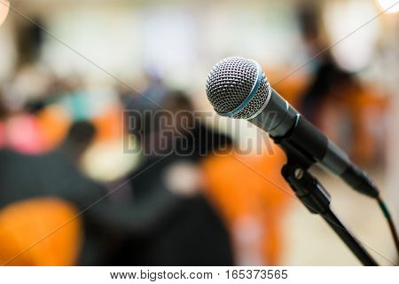 Microphone In Concert Hall, Conference Or Stage