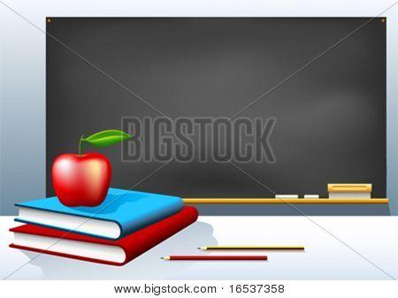 Ilustração em vetor de lousa de escola, livros, lápis e apple