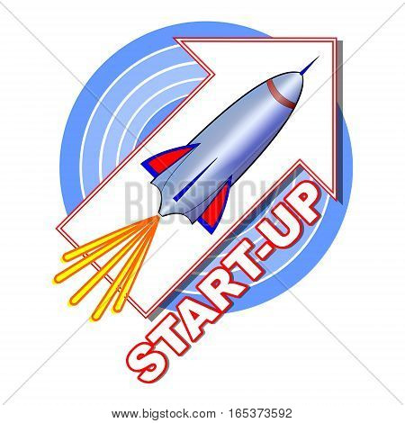 Start-up emblem with a rocket on the arrow pointing upwards blue concentric circles on background symbol for newly emerging projects