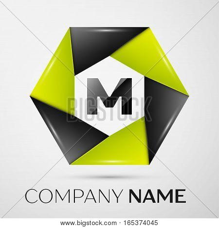 Letter M vector logo symbol in the colorful circle on grey background. Vector template for your design