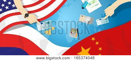 America USA Russia China relation international business trade cold war bargain vector
