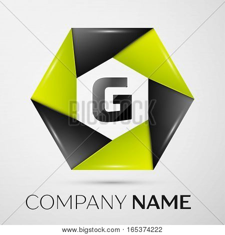 Letter G vector logo symbol in the colorful circle on grey background. Vector template for your design