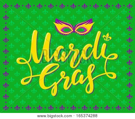 Mardi Gras Party Poster. Calligraphy and Typography Card. Holiday poster or placard template