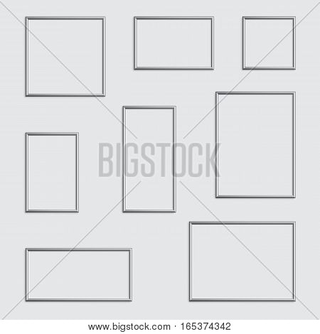 Vector isolated silver photo or picture frame in different proportions and sizes.