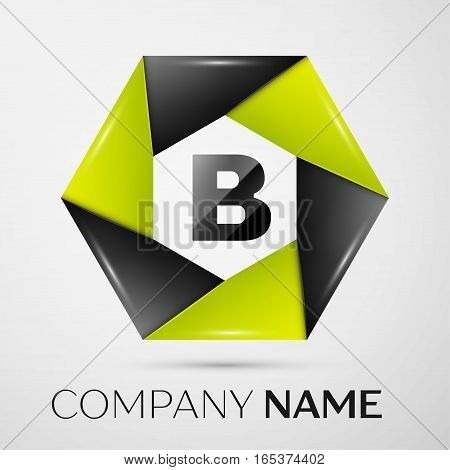 Letter B vector logo symbol in the colorful circle on grey background. Vector template for your design