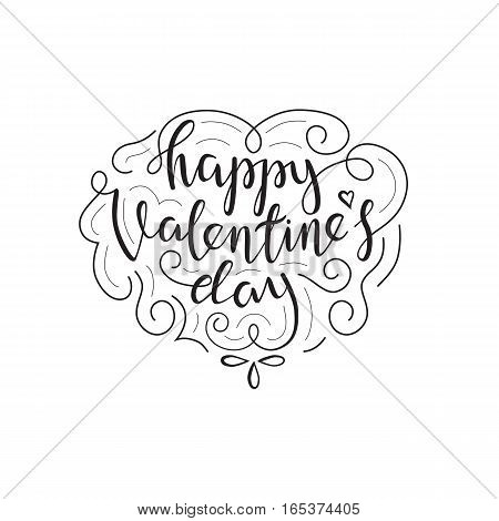 Happy Valentines Day Lettering Card. Typographic Background With Ornaments, Heart and Script.