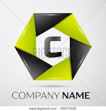 Letter C vector logo symbol in the colorful circle on grey background. Vector template for your design