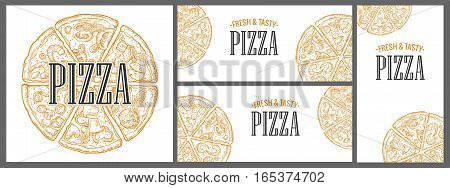 Horizontal vertical and square poster with monochrome slice and whole pizza Pepperoni Hawaiian Margherita Mexican Seafood Capricciosa. Vintage vector engraving illustration menu box isolated on white background