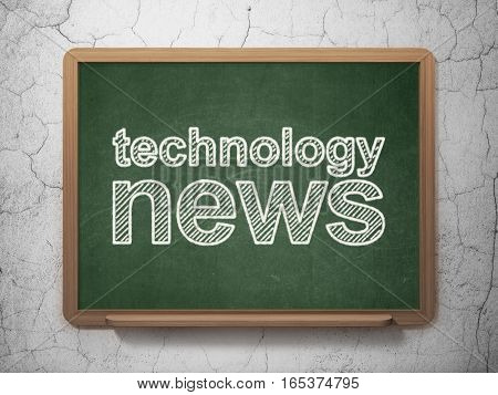 News concept: text Technology News on Green chalkboard on grunge wall background, 3D rendering