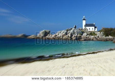 Lighthouse of Pontusval, Finistere, Brittany, France - Miniature effect
