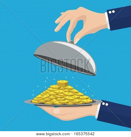 Business life hand opens serve cloche with money concept. vector illustration in flat design