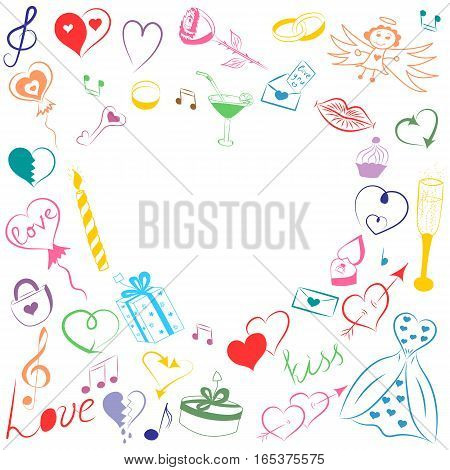 Hand Drawn Set of Valentines Day Symbols. Children's Funny Doodle Drawings of Colorful Hearts Gifts Rings Balloons and Candle. Sketch Style Vector Illustration.