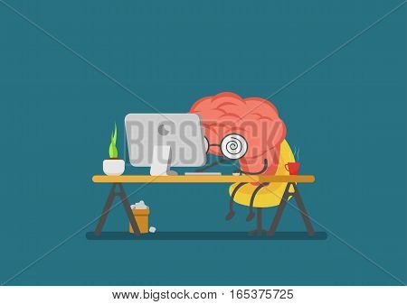 vector cartoon brain reading computer.Can represent a significant business developments such as thinking learning e-learning