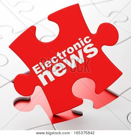 News concept: Electronic News on Red puzzle pieces background, 3D rendering