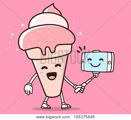 Vector Illustration Of Color Smile Ice Cream With Phone Making Selfie On Pink Background. Selfie Car