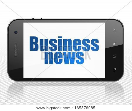 News concept: Smartphone with blue text Business News on display, 3D rendering