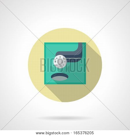 Golf ball putted with blue stick to hole. Golfing score. Sport and activity leisure concept. Round flat design vector icon.