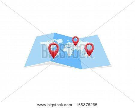 Vector map icon with Pin Pointers. Flat style eps jpg