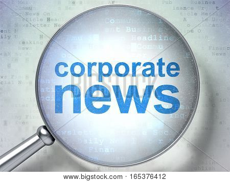 News concept: magnifying optical glass with words Corporate News on digital background, 3D rendering