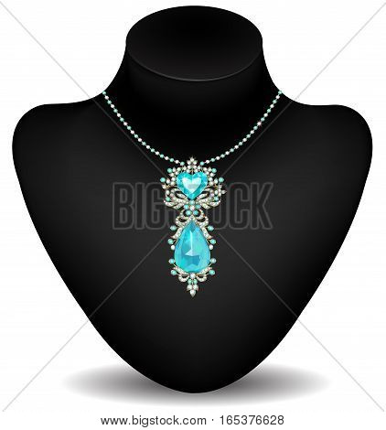 Necklace with pendant made of diamonds and aquamarine